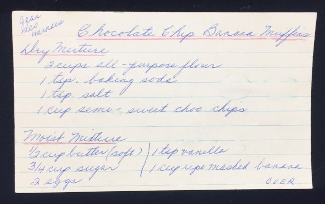 chocolate chip banana muffins recipe (front)
